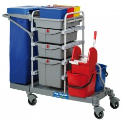 Chariot ménage lavage MORGAN seaux 3x8L / 2x15L / Presse / Couvercle R100